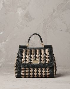 MID-SIZED NAPPA LEATHER WOVEN SICILY BAG - Medium leather bags - Dolce&Gabbana - Summer 2014