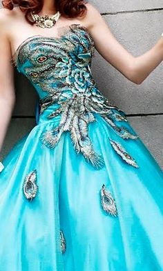 Turquoise peacock dress