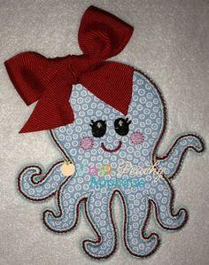 Girl Octopus Applique Design Just Peachy Applique