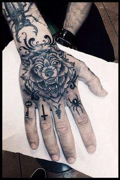 Wolf Tattoo Design on Hand - Tattoo Shortlist Knuckle Tattoos, Finger Tattoos, Body Art Tattoos, Sleeve Tattoos, Arabic Tattoos, Arabic Henna, Leg Tattoos, Tattos, Wolf Tatoo