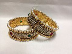 Indian Bangles Set in Antique Finish and Indian Polki Stone 2.8 Green Red White Pearl