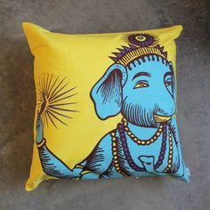 Blue on Yellow Pop Art Ganesh Sparkle Pillow