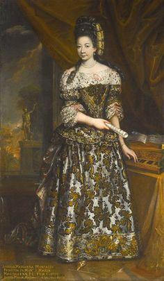 ~ al norte de la escuela italiana, 17 th Century: retrato de Josefa Marianna Arconati con un virginal.