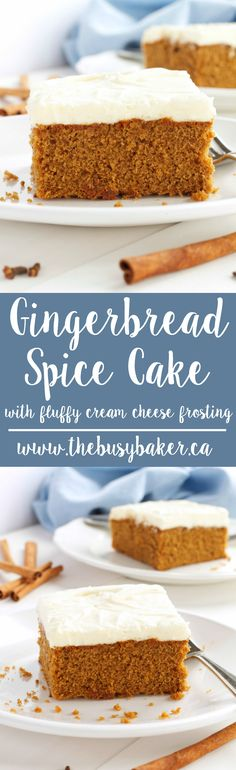 This Gingerbread Spice Cake with Fluffy Cream Cheese Frosting is bursting with holiday flavours like fresh ginger and topped with cream cheese frosting. Recipe from thebusybaker.ca! via @busybakerblog