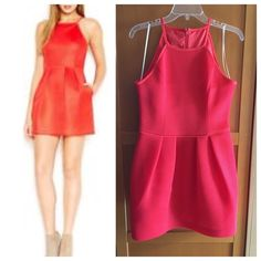 Rachel Roy Orange Spaghetti Strap Dress Wore once. It was too short for work. I work in corporate America  Very beautiful detail. Tomato color dress. Rachel Roy Dresses Mini