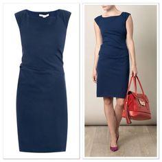 NWT $365 Diane von Furstenberg Gabi Cap Sleeve Shift Dress in Blue - Size 10 #DVF #ShiftDresswithSideRuching