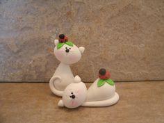Garden Kitty Pair  Ladybug par countrycupboardclay sur Etsy, $11,95