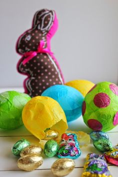Candy Filled Paper Mache Easter Eggs