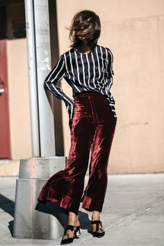 Velvet pants + striped blouse.