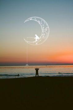 пляж, красиво, нарисованное, гранж, инди, воспоминания, луна, солнце, закат, путешествие