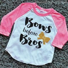 Bows Before Bros Shirt Raglan Toddler Bow by BumpAndBeyondDesigns