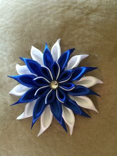Kanzashi Flower Hair Bow by ZootieCutie on Etsy