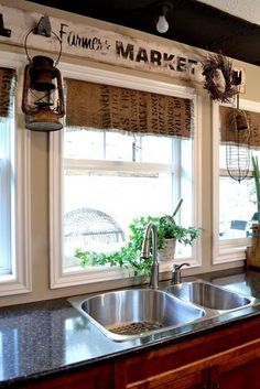 make your own coffee sack shades fast and easy, home decor, window treatments, windows, The kitchen backs onto park property so privacy isn t an issue And I prefer the sun to stream right on it anyway Kitchen Sink Window, Kitchen Window Curtains, Kitchen Valances, Kitchen Window Treatments, Diy Kitchen, Kitchen Decor, Kitchen Ideas, Burlap Kitchen, Kitchen Sinks