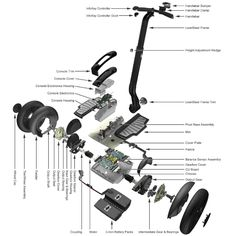 Segway Parts Exploded View, Scooter Parts, Electronics Projects, Arduino, Diy Projects To Try, Transportation, Mixer, Cars And Motorcycles, Music Instruments