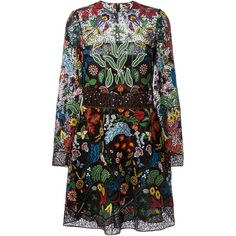 Valentino floral embroidered dress ($11,395) ❤ liked on Polyvore featuring dresses, valentino, платья, multicolour, embroidered flower dress, 3/4 sleeve dress, three quarter sleeve dress, multi colored dress and floral embroidered dress