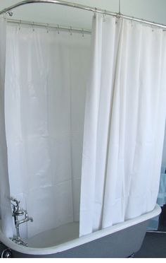 Extra Wide Vinly Shower Curtain For A Clawfoot Tub/white With Magnets X