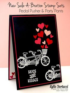 Stampin' Up! Australia: Kylie Bertucci Independent Demonstrator: Sale-a-Bration… Love Cards, Diy Cards, Valentine Day Cards, Valentines, Bicycle Cards, Petal Pushers, Kylie, Scrapbooking, Anniversary Cards