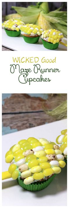 Give your runners a taste of sweet freedom with these deceptively delicious Maze Runner Cupcakes that look like corn on the cob! Baking Cupcakes, Yummy Cupcakes, Cupcake Recipes, Cupcake Cakes, Dessert Recipes, Yummy Treats, Delicious Desserts, Sweet Treats, Yummy Food