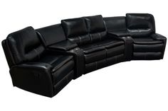 8500 – Saratoga Springs 5 Pcs Living Room Black Sectional   This contemporary reclining sectional will add a more stylish and comforting feel to your home. It is upholstered in Black Leather Air Match with bronze stitching. Both rocking side chairs are able to recline and it includes 1 stationary loveseat. There are 2 storage compartment and cup holders. This 5 Pcs Sectional is perfect for your family living room or entertainment theater room.