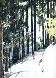 2011 Kyoto Mt.Atago - danny Landscape Illustration, Graphic Design Illustration, Illustration Art, Painting Inspiration, Art Inspo, Environment Concept Art, Illustrations And Posters, Pretty Art, Japanese Art