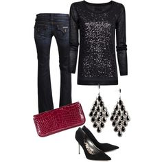 A fashion look from January 2013 featuring sequin top, boot cut jeans and leather pumps. Browse and shop related looks.
