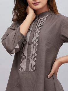 Brown Cotton Mulmul Asymmetric French Kurta with Palazzo - Set of 2 Collar Kurti Design, Kurti Sleeves Design, Sleeves Designs For Dresses, Neck Designs For Suits, Kurta Neck Design, Neckline Designs, Dress Neck Designs, Stylish Dress Designs, Stylish Dresses For Girls