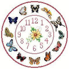 Butterfly+Cross+stitch+Clock+Chart+/+Pattern+by+IpeksGemBoxUK