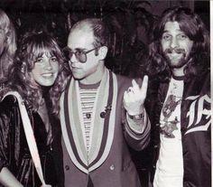 Stevie Nicks, Elton John, and Glenn Frey photographed together back in 1975.