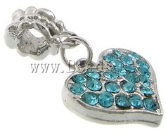European Zinc Alloy Pendants, Heart, platinum color plated, without troll & with rhinestone, blue, nickel, lead & cadmium free, 18x15x4mm, 27mm,china wholesale jewelry beads