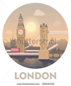 Vector icon representing London as a travel destination. London Big Ben and Tower Bridge, London cityscape - stock vector