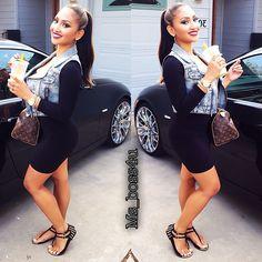 Plain black dress with a jean vest
