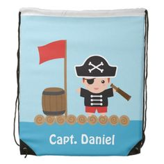 Cute Pirate Captain Ocean Raft Boy Backpacks
