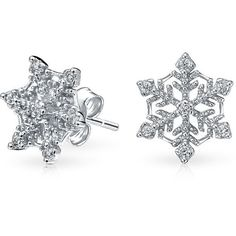 Bling Jewelry Ice Queen Studs ($27) ❤ liked on Polyvore featuring jewelry, earrings, clear, stud-earrings, stud earring set, clear earrings, snowflake earrings, christmas earrings and clear jewelry