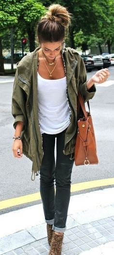 Army green jacket with black denim.