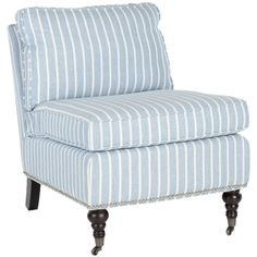 Blue and white stripe accent chair-love these because they are so versatile and not big space mongers