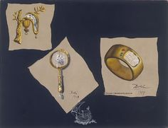 Study for the Persistence of Memory, Magnifying Glass and Television Bracelet - 1949 Gouache on Cardboard