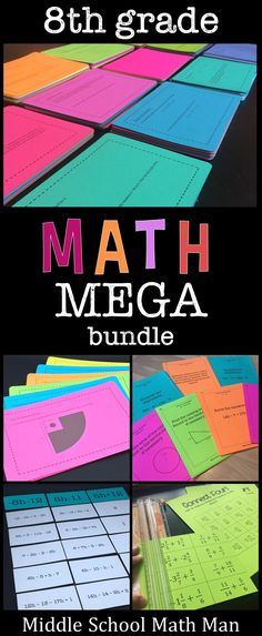 This Math Mega Bundle includes the majority of my resources created for 8th grade math. The bundle includes task cards, exit slips, math sorts, scavenger hunts, math games, and more! Topics include numbers and operations, algebra, geometry, statistics, and probability concepts.
