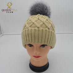 Crystal Decoration Fox Fur Hats Women's Winter Warm Fashion Cotton Knited Cap Beanies Real Natural Raccoon Fur Big Pompoms Hats