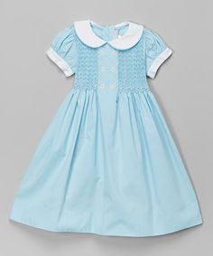 Aqua Peter Pan Collar Smocked Dress - Infant