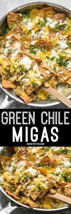Green Chile Migas is a fast and inexpensive egg dish that is flavorful and filling any time of day, not just for breakfast! Green Chile Migas is a fast and inexpensive egg dish that is flavorful and filling any time of day, not just for breakfast! Mexican Dishes, Mexican Food Recipes, Mexican Breakfast Recipes, Mexican Migas Recipe, Spanish Recipes, Breakfast On A Budget, Breakfast Ideas, Easy Healthy Recipes, Easy Meals