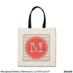 Monogram, Patterns, Chevrons, Gray, Coral Tote Bag