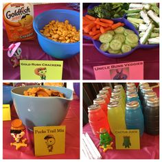 Food for sheriff Callie birthday party. Gold rush frackers. Uncle buns veggie garden. Cactus juice and pecks trail mix.