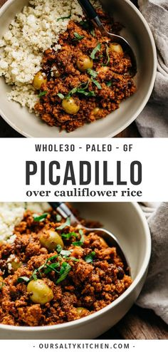 Shake up your weeknight dinner routine in the most delicious way possible with this easy, family friendly picadillo recipe! This gluten free and compliant picadillo is a comforting combination of seasoned ground beef, spicy tomato sauce, sweet rais Cuban Picadillo, Clean Eating Recipes, Clean Eating Snacks, Paleo Recipes, Whole Food Recipes, Whole30 Ground Beef Recipes, Paleo Ground Beef, Ground Turkey Recipes Whole 30, Ground Beef
