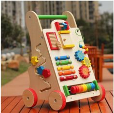 creative toy 30 Creative DIY Busy Boards For Toddler Learning Toddler Learning, Toddler Toys, Baby Toys, Kids Toys, Funny Toddler, Diy Busy Board, Busy Board Baby, Strollers For Dolls, Wooden Cart