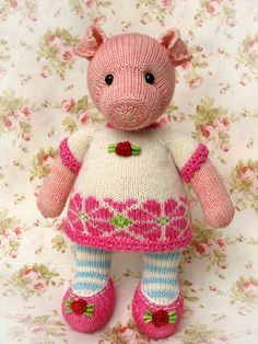 free knitted animals patterns | Heidi Bears: :: Pigwig the Piglet Knitting Pattern ::