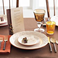 Welcome fall to the Thanksgiving table with pretty menus and place cards trimmed in rich, brown patterned paper and lush velvet ribbon.