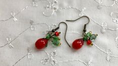 Tomatoes Red Green Lampwork Glass Dangle Earrings Doodaba Red Earrings, Red Green, Tomatoes, Dangles, Unique Jewelry, Handmade Gifts, Glass, Etsy, Kid Craft Gifts