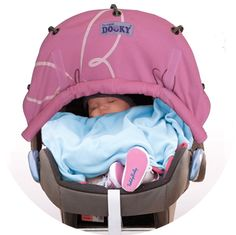 Pink Butterfly Dooky Roll Up Sun Shade for Carseats or Prams