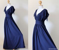 Navy Blue Maxi Dress  Sleeveless or Short Sleeve Cotton by Nuichan, $59.00