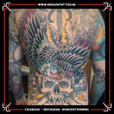 Designed and Tattooed by: Vincent Penning Dragon Tattoo. Tattoo Portfolio, I Tattoo, Eagle, Dragon, Traditional, American, Design, Dragons